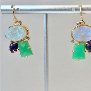 🆕Alexis Bittar Druzy Jade? Amethyst Earrings Gold